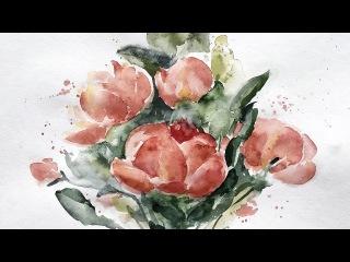 Flowers bouquet watercolor speedpainting. Букет цветов акварелью