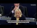 Marine Le Pen wywala wszystkie brudy UE w europarlamencie. Miny Merkel i Hollande'a bezcenne.