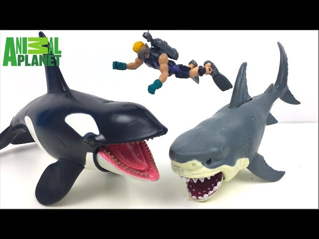 ANIMAL PLANET MEGA SHARK AND ORCA ENCOUNTER - KILLER WHALE TIGER SHARK GREAT WHITE DIVER - UNBOXING
