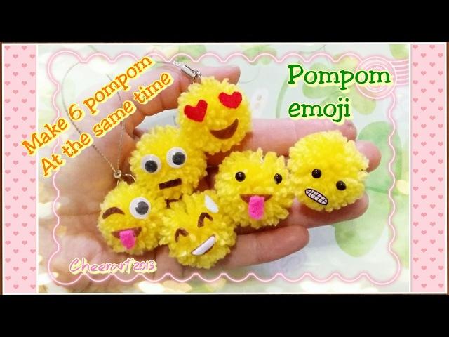 How to make 6 pompom at the same time? Pompom emoji 毛毛球-表情符號