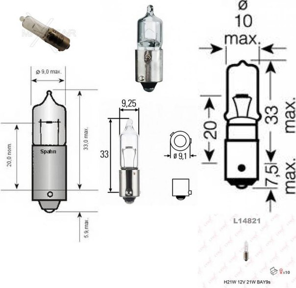 Лампа накаливания, фара заднего хода; Лампа накаливания, фонарь указателя поворота для BMW X4 (F26)