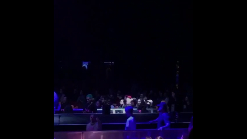 """November 17: Fan taken video of Justin at Fall Out Boy's """"The Mania Tour"""" in Inglewood, California."""