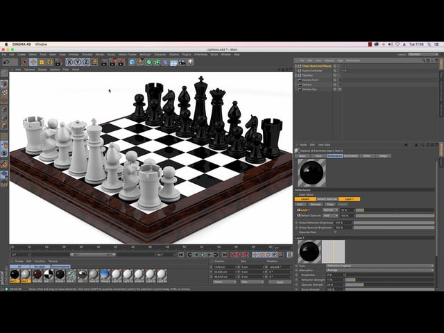 Cinema 4D Tutorial - How to Model a Chess Set - Part 9: Texturing, Lighting and Rendering