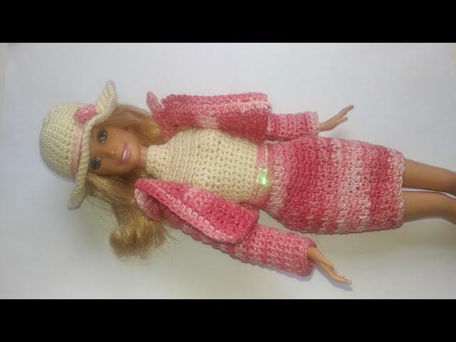 Roupa de crochê para boneca Barbie, doll silkstone, doll monster high, fashion royalty Modelo Me01