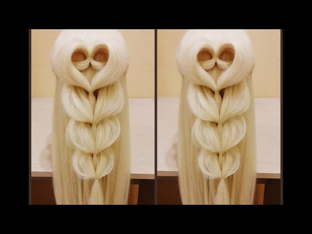 Сердце❤ из волос с французской ажурной косой. 💗Самый простой видео урок))👍😊✌