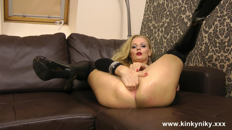 Kinky Niky Self anal fisting in open ass black dress Anal, Solo, Masturbation, Prolapse, Fisting, Hardcore,