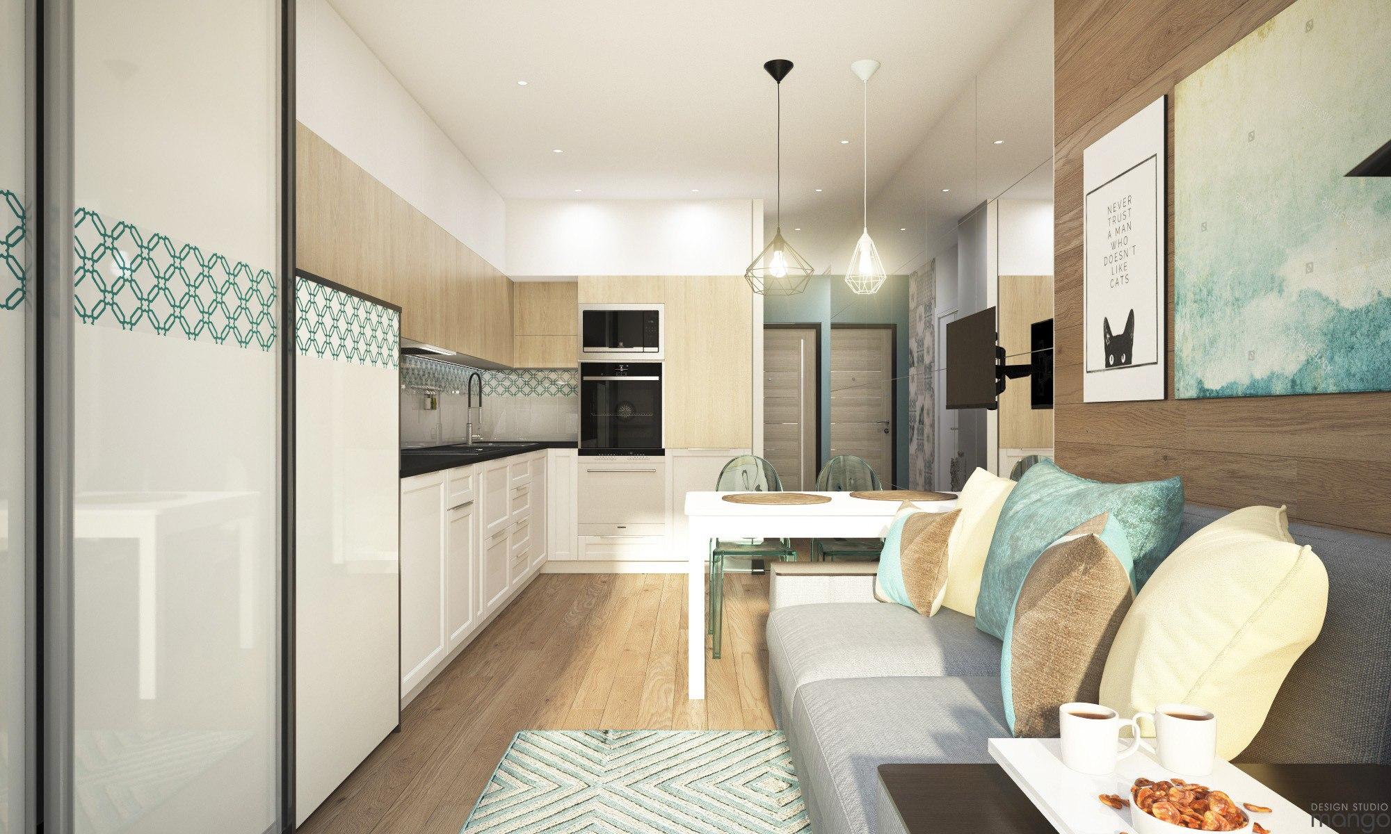 Проект квартиры прямоугольной планировки почти 26 м (+ балкон 3,9 м).
