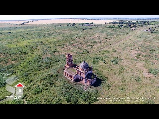 Аэросъемка села Щербеть (Спасский район, Михайловская церковь)