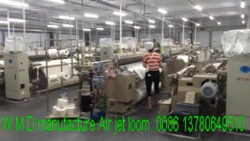 Visiting our air jet loom user's factory