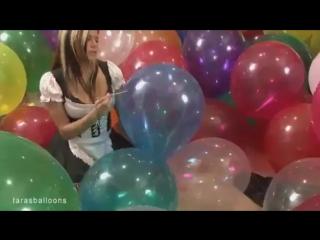 Sexy girl burst big balloons