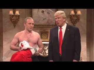 Путин через каминную трубу приходит на Рождество к Трампу: пародия Saturday Night Live.