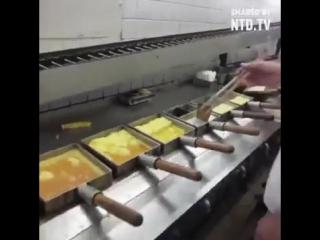 Конвейерное производство японского омлета