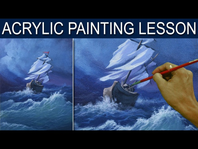Acrylic Painting Lesson | The Storm with a Sinking Boat on Huge Waves by JM Lisondra