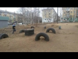 Parkour playground #town_of_Bratsk. Two Arab Flips