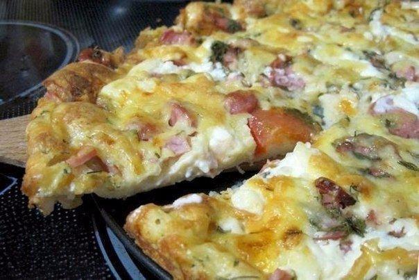 Пицца на сковороде за 10 минут Ингредиенты: -4 ст.л.