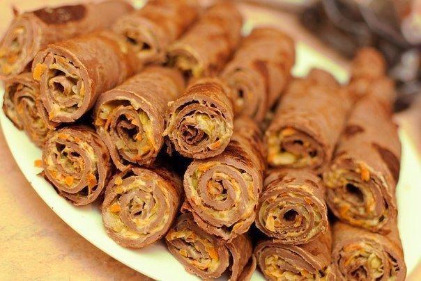 Блинчики печеночные с начинкой Ингредиенты: - 400-500 гр печени -