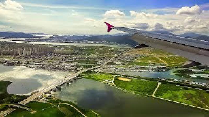 Osaka - Busan. Landing on Flying Peach Airbus A320/ の着陸 A320/ Осака - Пусан. Посадка Airbus A320