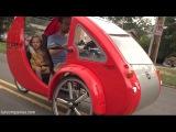 ELF solar car-bike for driver + 2 kids, equals 1800mpg