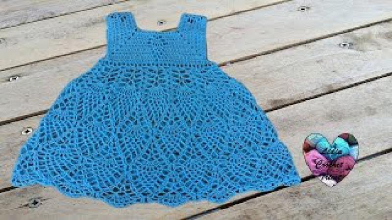 Robe ananas fille au crochet 1/3 / Vestido pina niña crochet