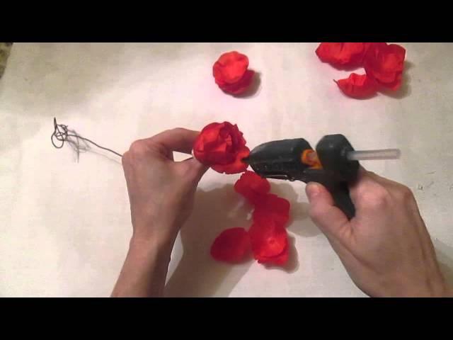 Роза на стебле своими руками / Цветы из ткани / 2 часть / Мастер класс / Елена Шевч ...
