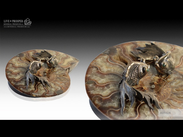 Bronze goldfish couple with demantoids inserts on ammonite