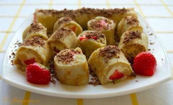 Вкусные и лёгкие сладкие роллы с творожно-фруктовой