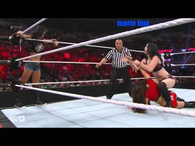WWE Raw Aj lee Brie Bella vs Paige Nikki Bella 9 15 14