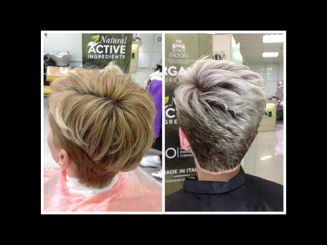 Осветление коротких волос окрашивание блонд Bleaching short hair