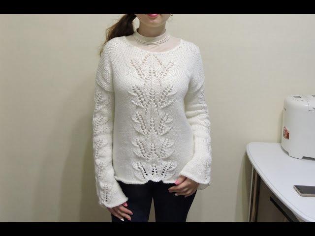 Женский свитер спицами для начинающих Часть 1 sweater knitting
