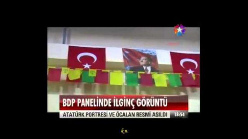 Atatürk Öcalan posteri Türk bayrağı PKK renkleri