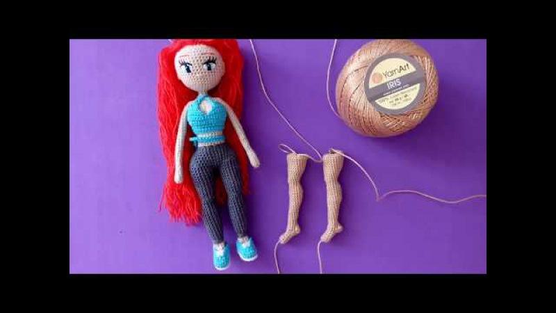 Как связать каркасную куклу амигуруми Тесс: объединяем ноги тело
