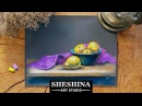 How to draw a still life with pears and a purple drapery with soft pastels 🎨 Fruits