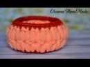 Корзина крючком из трикотажной пряжи Узор Цветочки Basket crochet