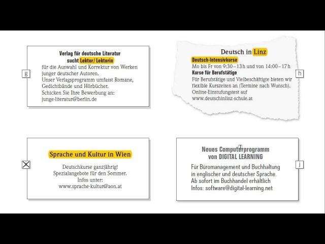 Экзамен по немецкому B1 Goethe-Zertifikat B1 ЧТЕНИЕ LESEN объявления