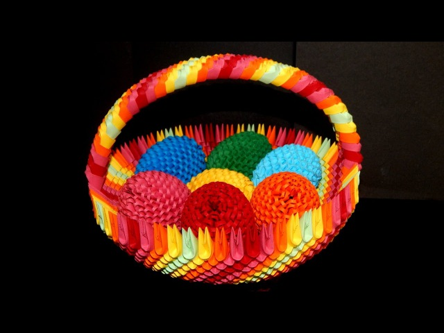 3D Origami Rainbow Basket tutorial (Easter egg basket)