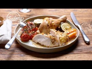 Poulet entier et légumes au four