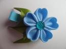 Голубая заколка Канзаши , Мастер класс канзаши для начинающих / Blue hairpin kanzashi