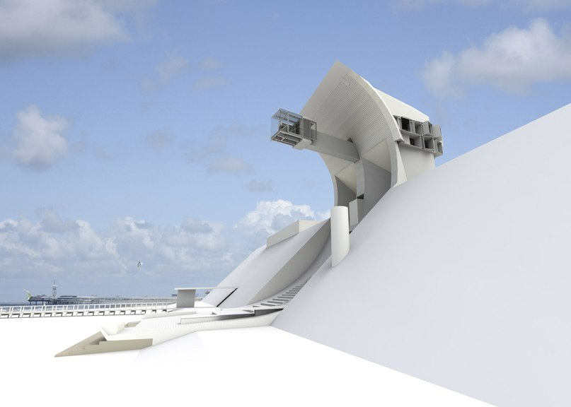 Retractable sunscreen sheaths glazed cantilever at Ventus House (Part 1)