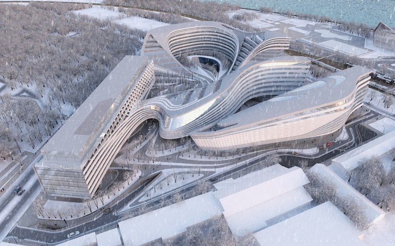 Студия архитектурного дизайна  Zaha Hadid Architects показала свою последнюю работу – здание на территории для бывшего завода Beko в центре Белграда, Сербия.