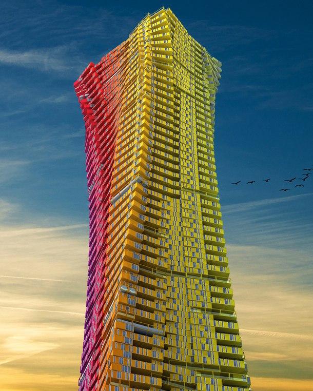 """Проект двух высотных зданий, разработанный китайской студией CRG Architects, занял третье место на международном конкурсе """"Стальной город: контейнерные небоскребы"""", где рассматривались варианты организации жилого квартала в Мумбае на западе Индии."""