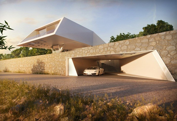 На греческом острове Родос расположена вилла с динамичным геометрическим фасадом.