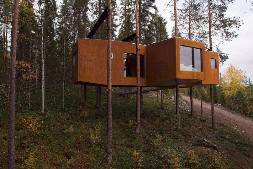 Dragonfly – это дом на дереве площадью 52 квадратных метра и весом 24,25 тонн, расположен в Норрботтене, Швеция.