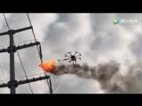 Китайцы поручили дрону с огнеметом удаление мусора с ЛЭП