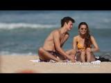 Ansel Elgort and Violetta Komyshan on the beach