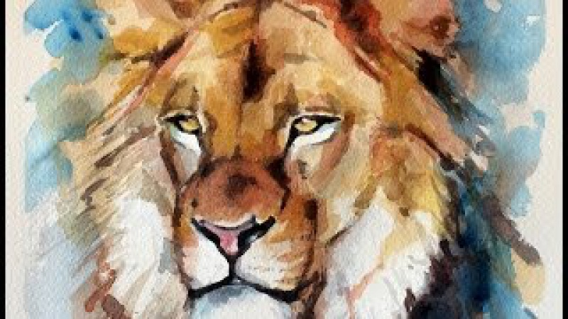 Watercolor SPEED PAINTING Lion Portrait by Ch.Karron