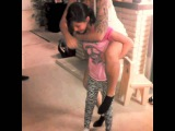 10 year old daughter carries her mommy