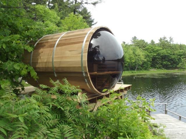 Panoramic View Cedar Barrel Sauna Assembly Video