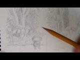Основы рисунка. Часть 21 - уточняем набросок и тонируем жестким карандашом