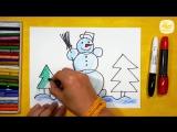 Как нарисовать Снеговика. Урок рисования для детей от 3 лет _ Раскраска для детей