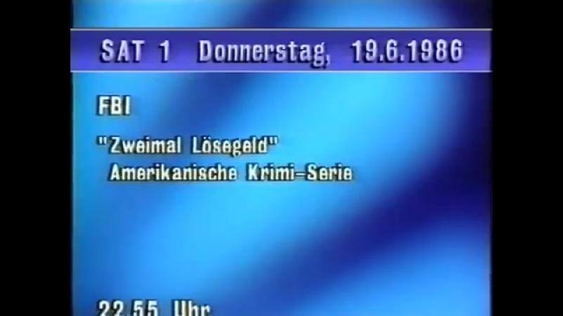 Диктор, программа передач и конец эфира (Sat.1 [Германия], 18.06.1986)